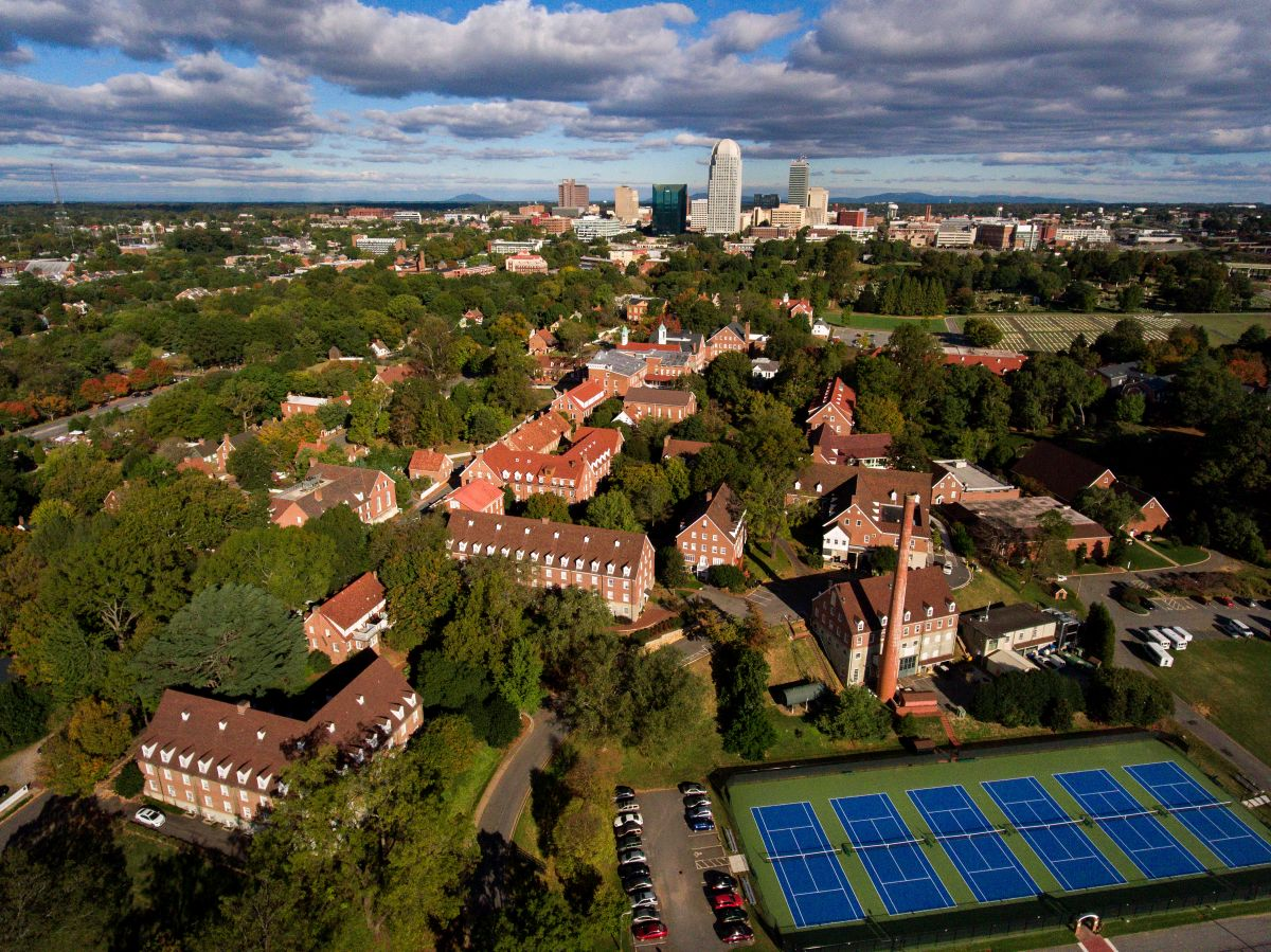 Aerial photo of Salem's campus from tennis courts to downtown