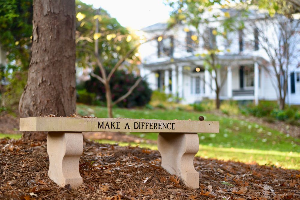 """""""Make a Difference"""" bench on campus"""