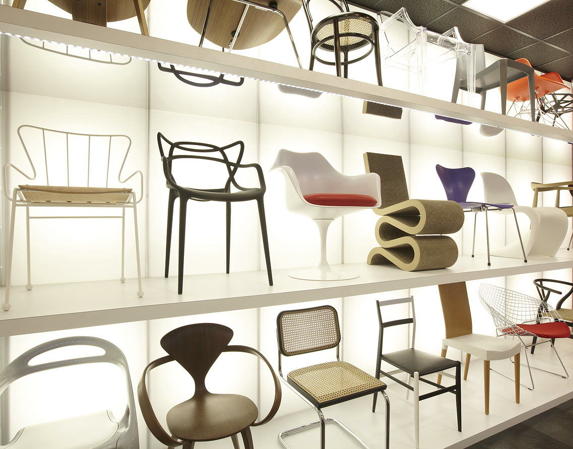 wall of chairs in the chair library