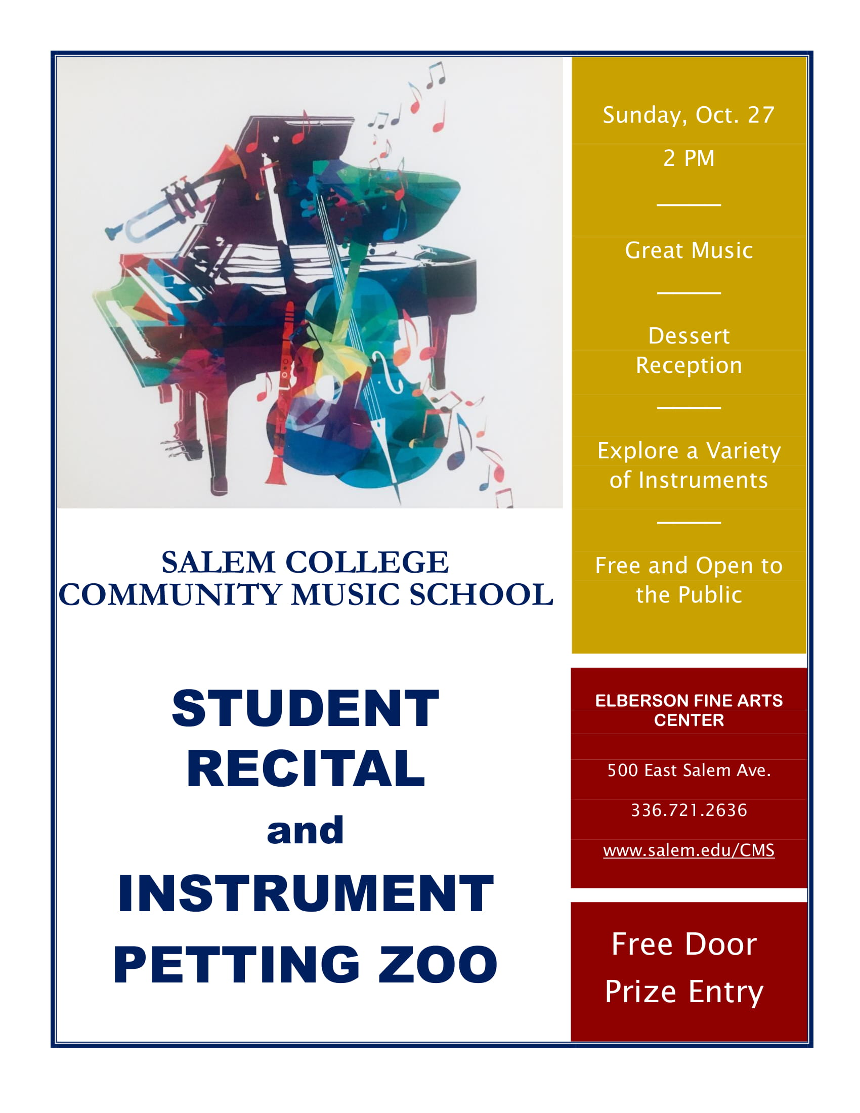 Community Music School Fall Performance Flyer, see page for details.