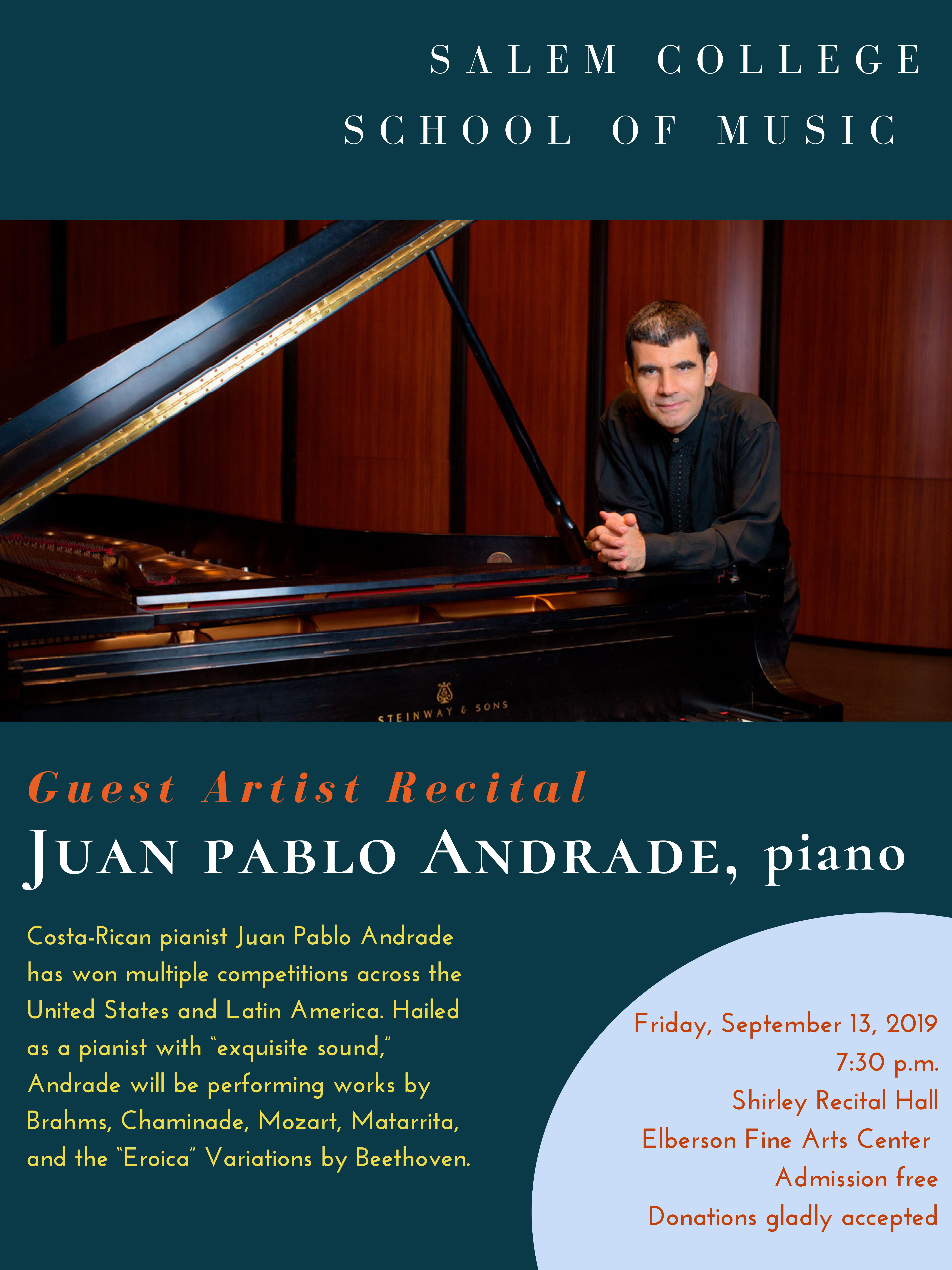 Juan Pablo Adrade, piano guest artist flyer, details on page