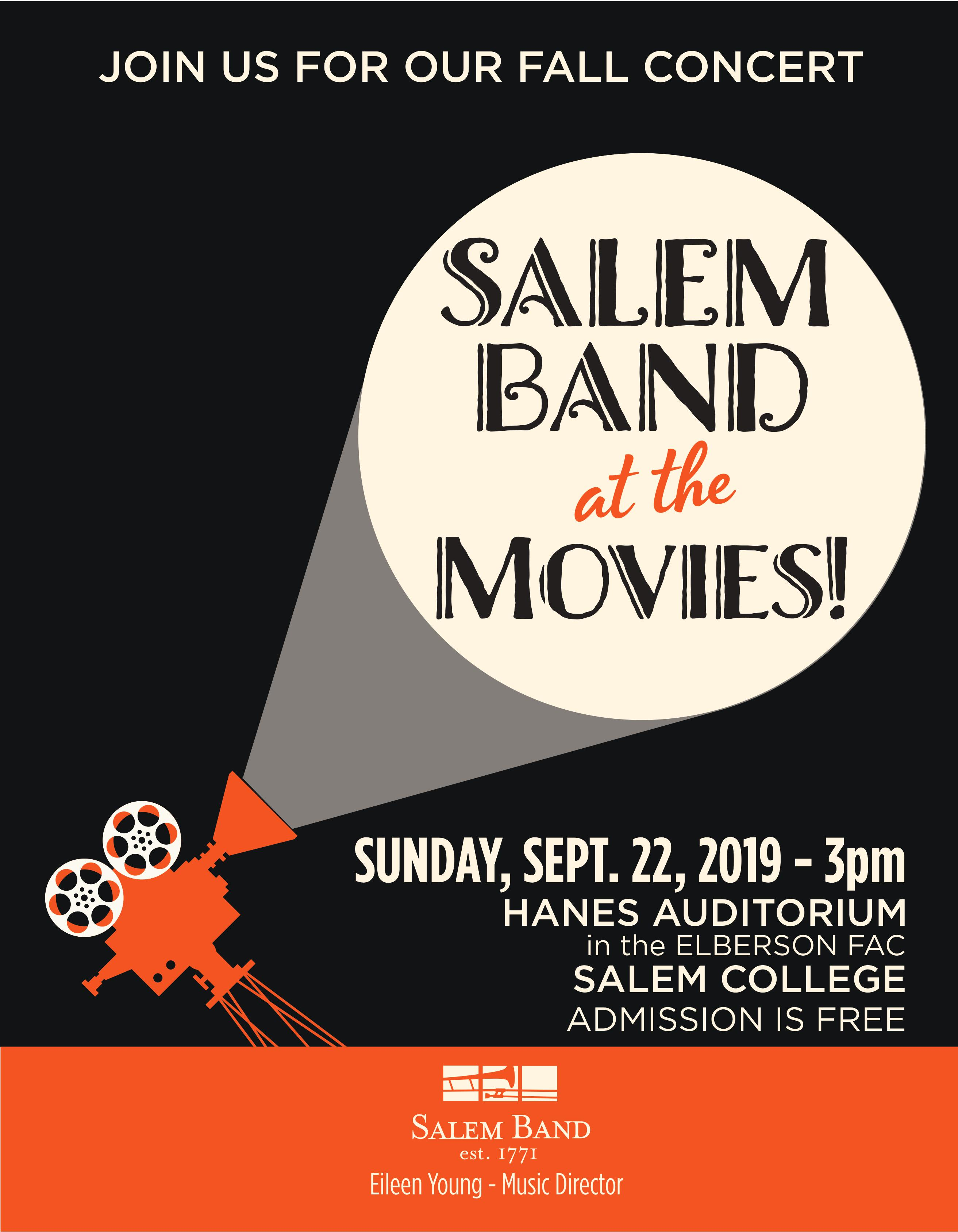 Salem Band at the Movies Fall 2019 Concert Flyer, see page for details