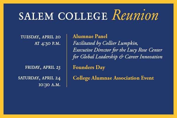 Salem College Reunion events graphic, info below