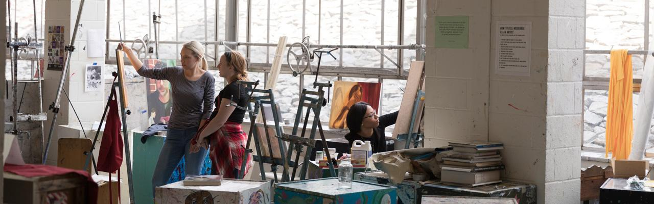 students in the art studio