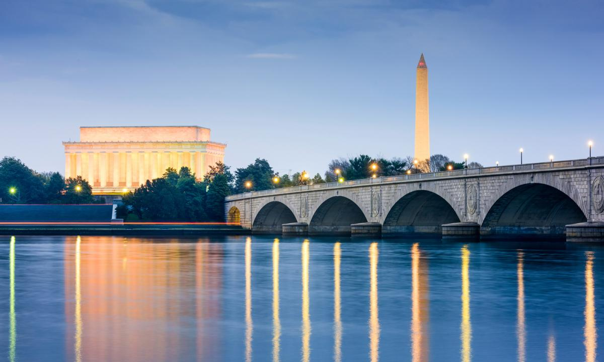 Washing DC at sunset with the Lincoln and Washington Memorials lit, reflecting off the water