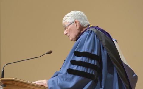 Dr. Richard E. Johe speaking at the podium
