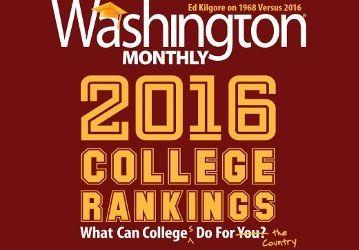 Washington Monthly with 2016 College Rankings Coverpage