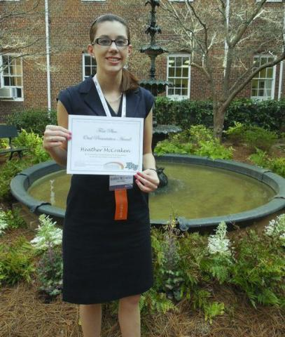 Salem student Heather McCracken with certificate