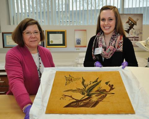 Salem student and professor with textile art