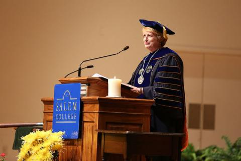 photo of President Sterritt at the podium, on stage
