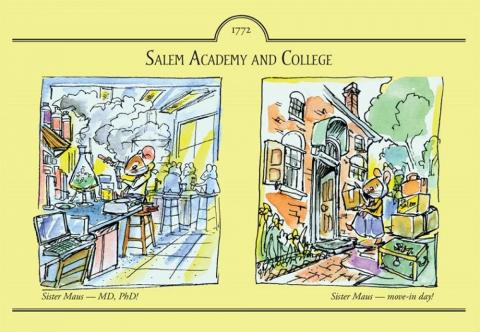 watercolor from John Hutton with Sister Maus on move-in day to PhD!
