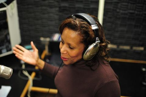photo of Patricia Hall in the sound booth