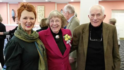 photo of Margaret Mueller with Barbara Lister-Sink and her husband, John Mueller
