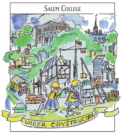 John Hutton water color with Sister Maus: Salem College Under Construction