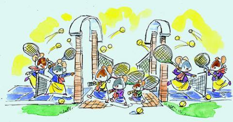 Sister Maus tennis center celebration art by John Hutton