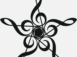 Image of artistically arranged treble clefs representing comtemporary music