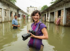 Ami Vitale on location in waist-high water