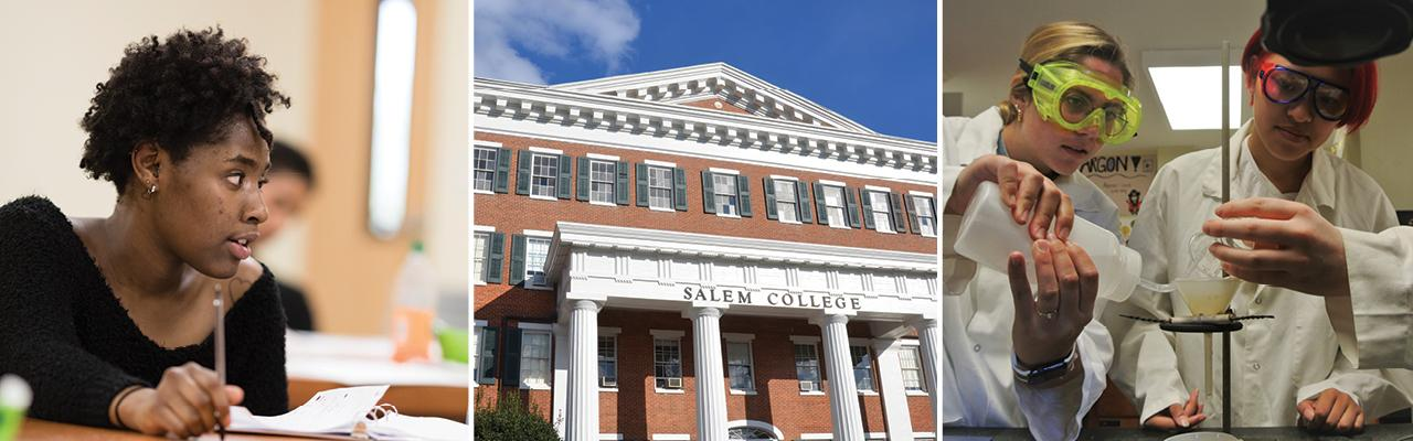 Salem students and main hall collage
