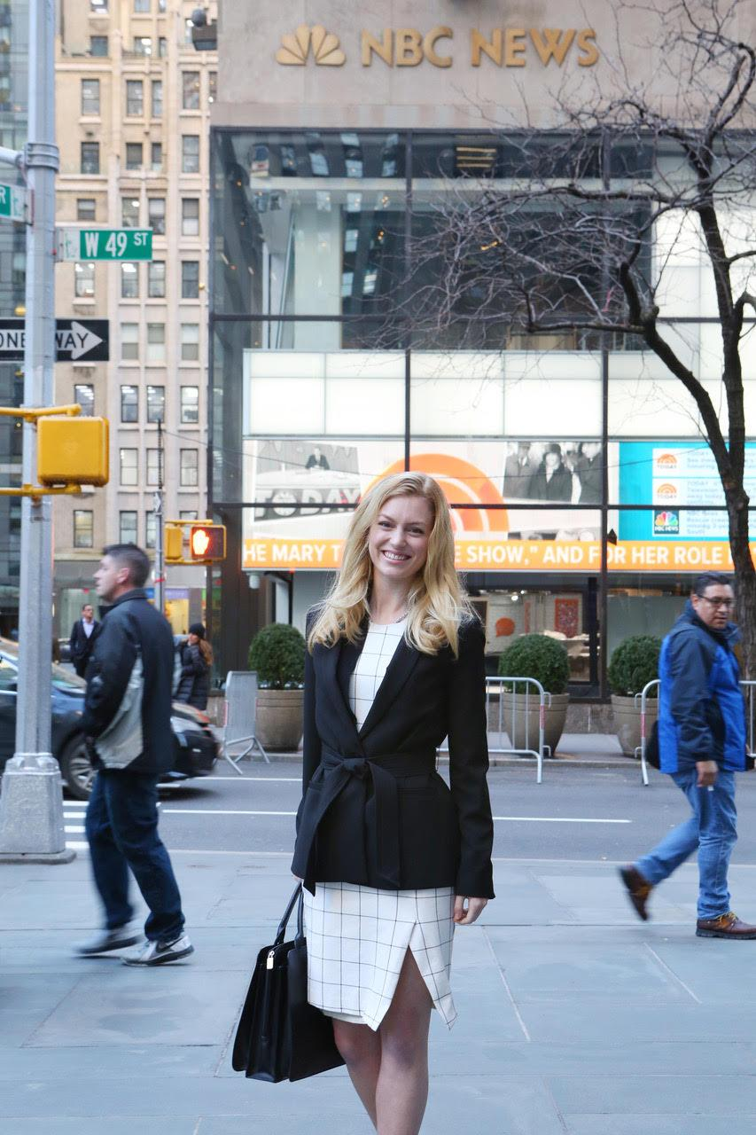 Merritt Enright in front of NBC News in NY