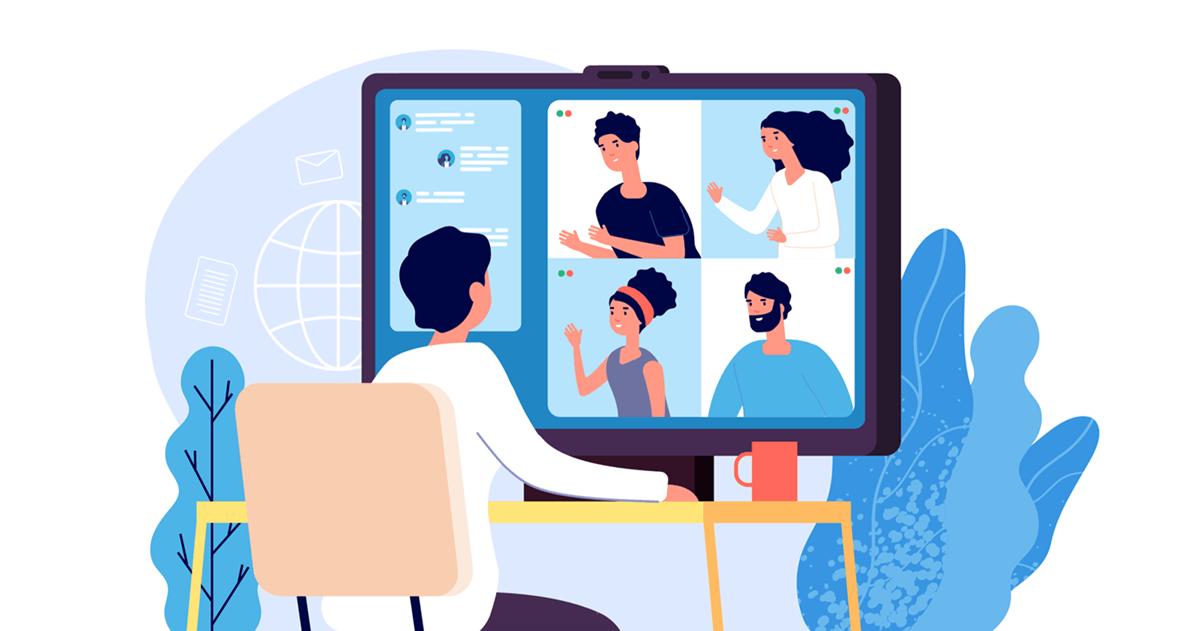 Video conferencing cartoon graphic