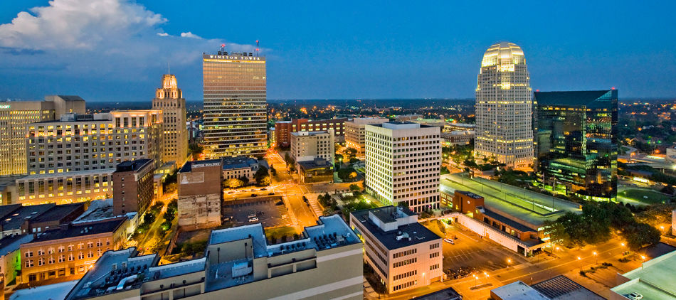 Downtown Winston-Salem before dusk